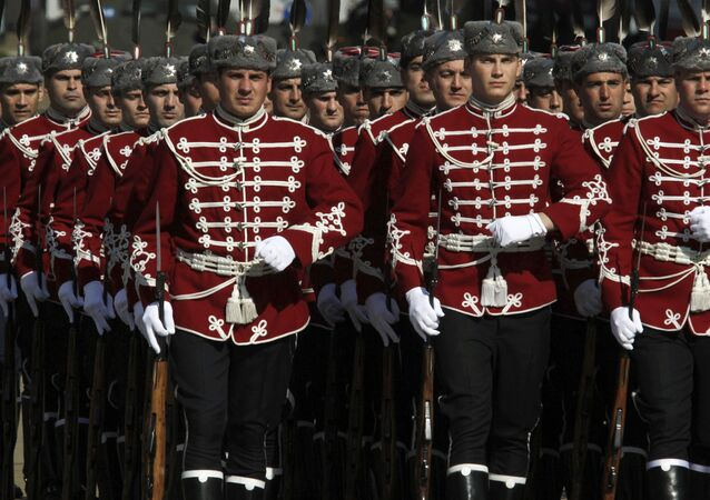Bulgarian honor guards march during a military parade in Sofia, Friday, May 6, 2011