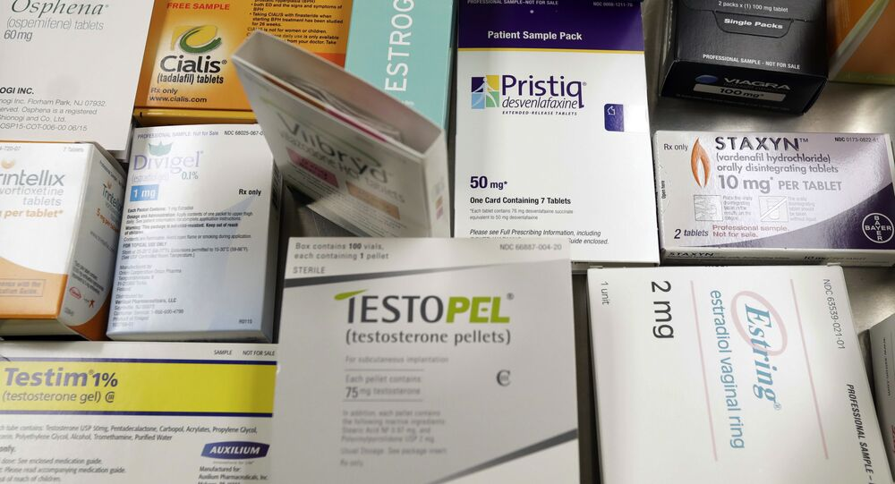 A display of prescription medicines for impotence and sexual problems