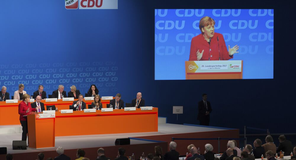 German chancellor and head of the German Christian Democrats, CDU, Angela Merkel, speaks at a regional party convention of the CDU in North Rhine-Westphalia, in Muenster, Germany. (File)