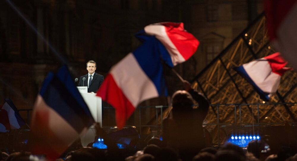 French President elect Emmanuel Macron on the stage at his victory rally near the Louvre in Paris, France May 7, 2017.