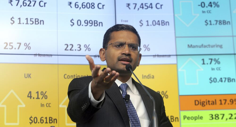 Tata Consultancy Services CEO and Managing Director Rajesh Gopinathan speaks during a press conference in Mumbai, India, Tuesday, April 18, 2017.