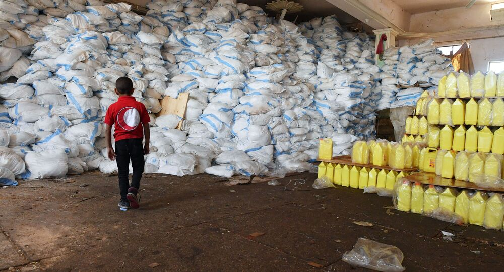 The Red Cross and Red Crescent centre for humanitarian aid in Deir ez-Zor, Syria.