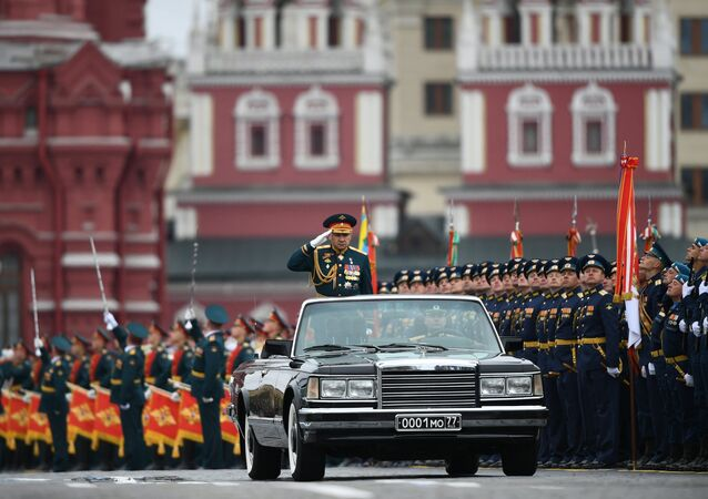 Russian Defense Minister Sergei Shoigu at  the military parade marking the 72nd anniversary of Victory in the Great Patriotic War of 1941-1945, Moscow.