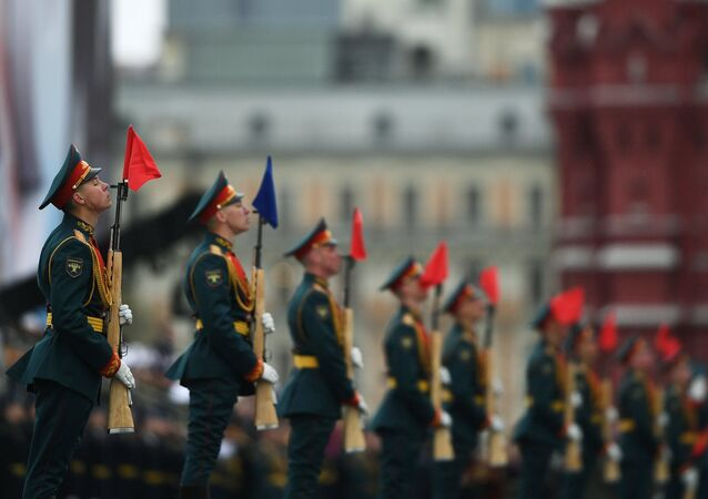 Russian servicemen stand in attention during the parade marking the World War II anniversary in Moscow.