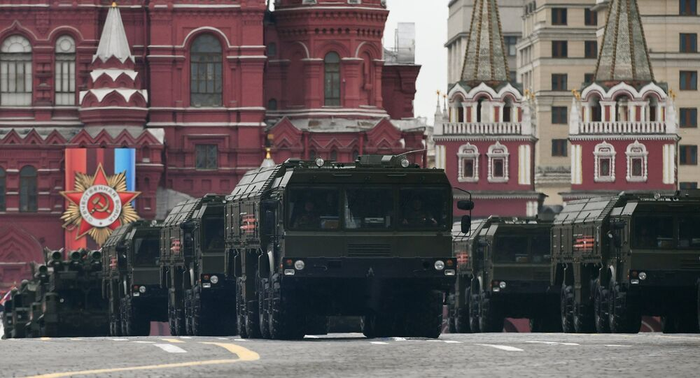 Iskander shorter-range missile systems at the military parade devoted to the 72nd anniversary of Victory in the Great Patriotic War, on the Red Square in Moscow.