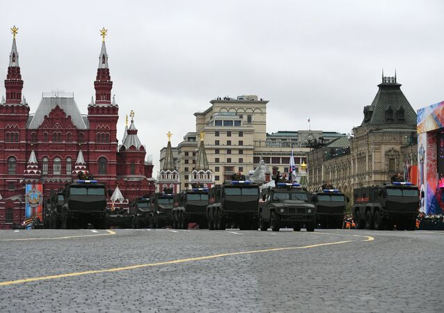 Typhoon-U enhanced protection armored vehicles during the  military parade in Moscow marking the 72nd anniversary of the victory in the Great Patriotic War of 1941-1945.
