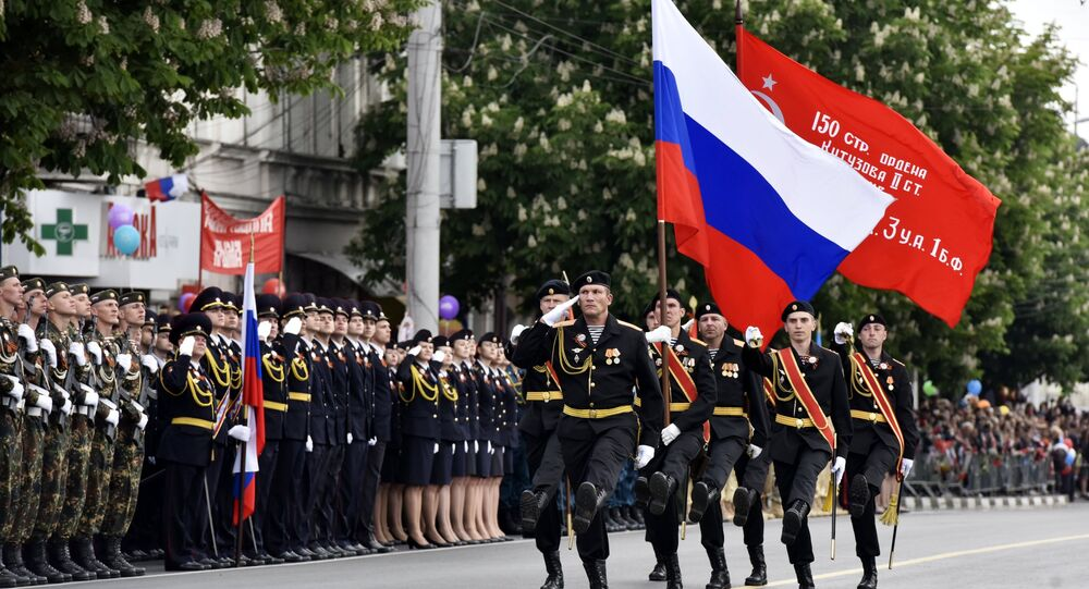 Simferopol, the capital of Russia's Republic of Crimea, on Tuesday hosted its first military parade ever to honor the 72nd anniversary of the Victory over Nazi Germany in the Great Patriotic War