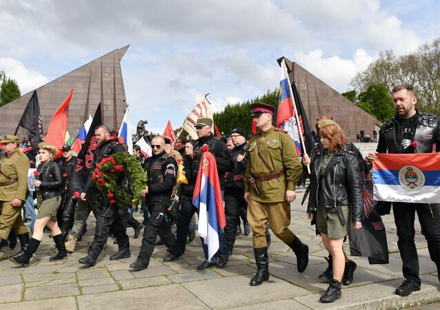 Members of the Russian biker group Night Wolves and sympathisers demonstrate at the Soviet soldier monument of the Soviet War Memorial in Berlin's Treptow district on May 9, 2017, to commemorate the Soviet victory over Nazi-Germany 72 years ago.