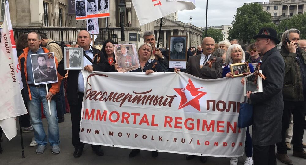 Drawings at Trafalgar Square during the Immortal Regiment march in London