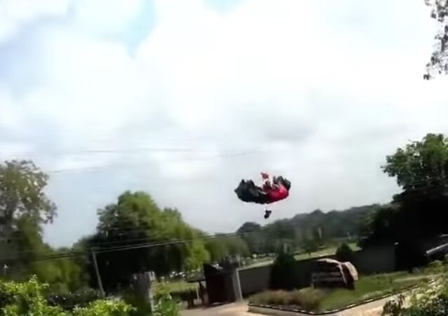 Women Parachutist Crashes into Power Lines in Sri Lanka