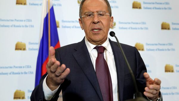 Russian Foreign Minister Sergey Lavrov speaks at his news conference at the Russian Embassy in Washington, U.S - Sputnik International