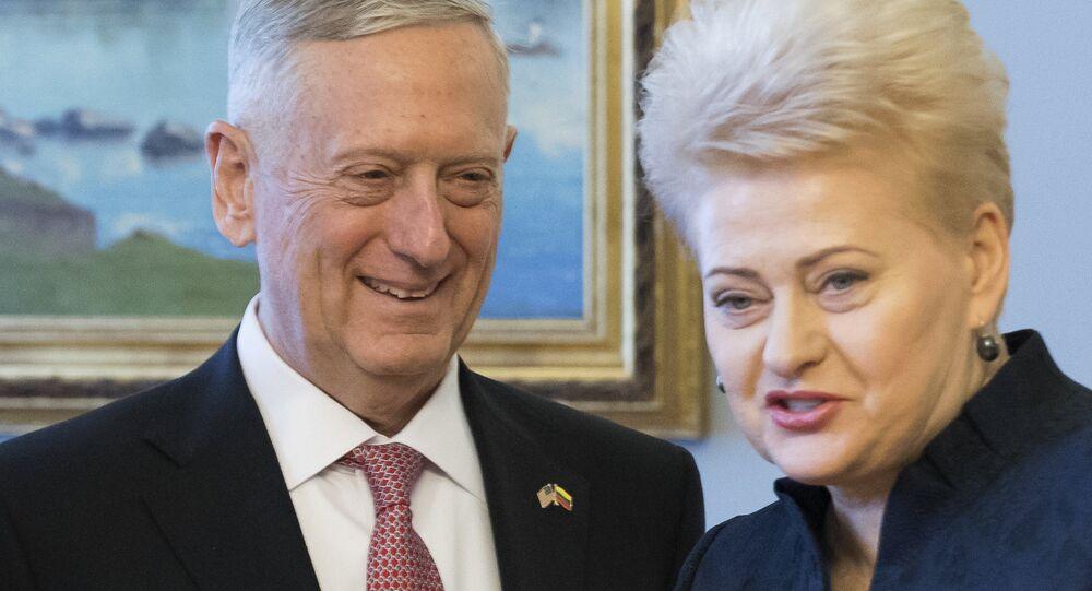 US Secretary Secretary of Defense James Mattis and Lithuanian President Dalia Grybauskaite