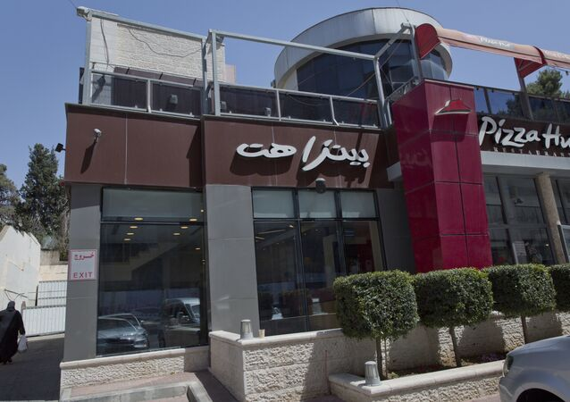 Palestinian branch of the Pizza Hut company, in the West Bank city of Ramallah