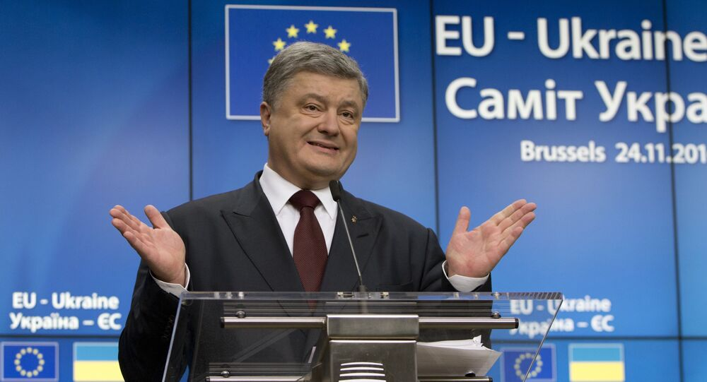 Ukrainian President Petro Poroshenko speaks during a media conference at the conclusion of an EU-Ukraine summit at the European Council building in Brussels on Thursday, Nov. 24, 2016