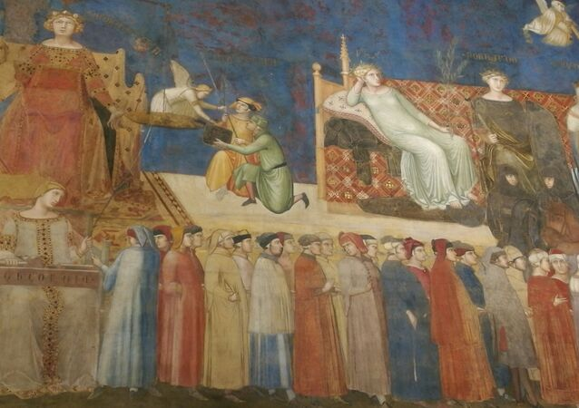 Ambrogio Lorenzetti: Allegory of Good Government (detail) at the Palazzo Pubblico in Siena