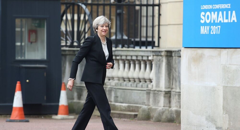 Britain's Prime Minister Theresa May arrives at Lancaster House to attend the 2017 Somalia Conference in London, May 11, 2017.