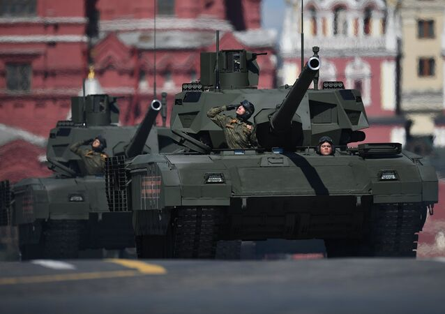 A T-14 Armata tank during the final rehearsal of the military parade in Moscow marking the 72nd anniversary of the WWII victory. File photo
