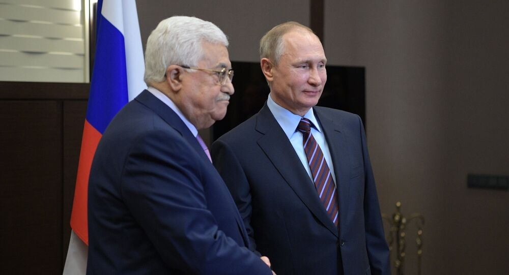 May 11, 2017. President Vladimir Putin and Palestinian President Mahmoud Abbas, left, during a meeting