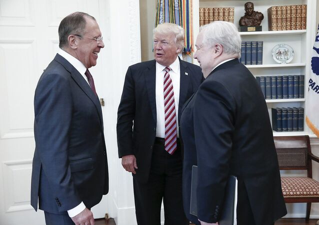 A handout photo made available by the Russian Foreign Ministry on May 10, 2017 shows US President Donald J. Trump (C) speaking with Russian Foreign Minister Sergei Lavrov (L) and Russian Ambassador to the U.S. Sergei Kislyak during a meeting at the White House in Washington, DC