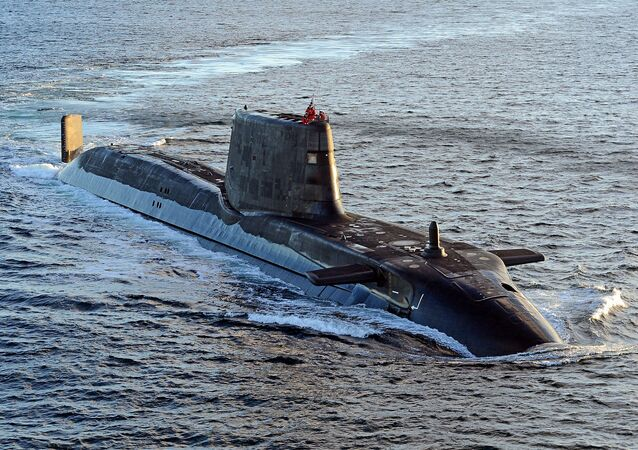 Astute class submarine HMS Ambush is pictured during sea trials near Scotland.