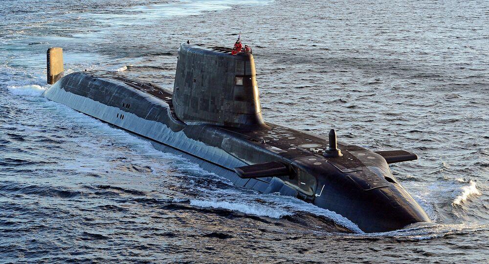 Astute class submarine HMS Ambush is pictured during sea trials near Scotland.