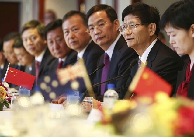 China's Central Commission on Political and Legal Affairs, Secretary Meng Jianzhu, third right, speaks at the inaugural Australia-China High-level Security Dialogue in Sydney, Friday, April 21, 2017.