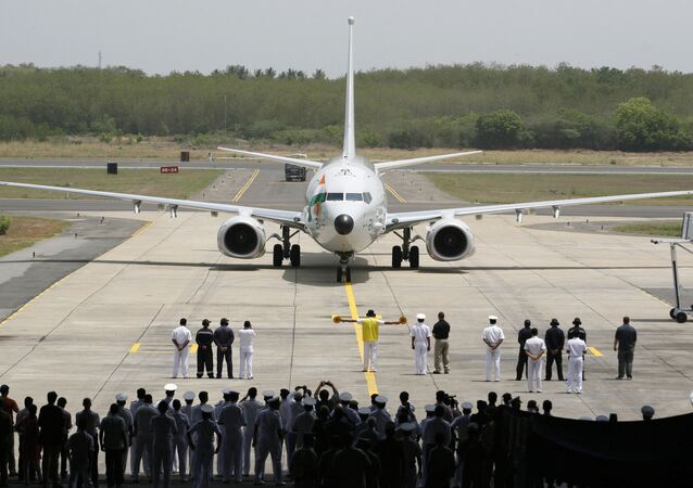 A Boeing P-8I aircraft arrives for its induction at the Naval Air Station Rajali in Arrakonam, some 58 miles from Chennai, India, Wednesday, May 15, 2013