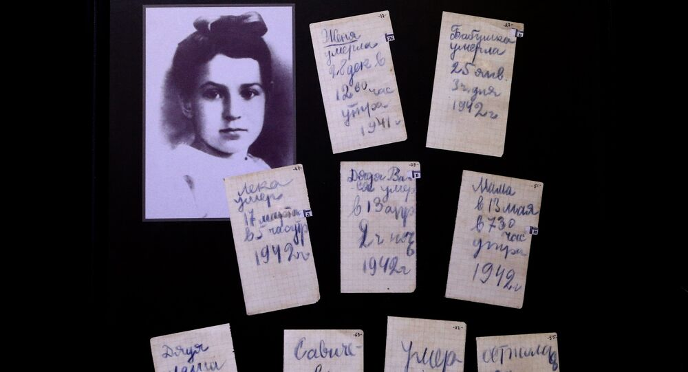 The diary of Tanya Savicheva at the museum in the Piskaryovo Memorial Cemetery where about 500,000 victims of the siege of Leningrad and soldiers of the Leningrad Front are buried