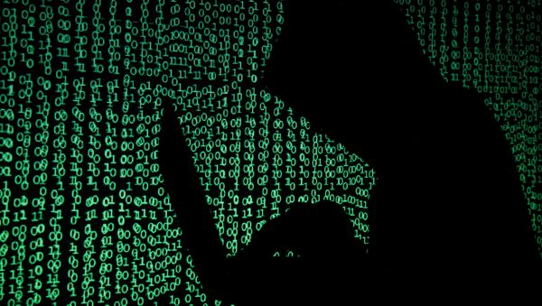 A hooded man holds a laptop computer as cyber code is projected on him in this illustration picture taken on May 13, 2017 - Sputnik International