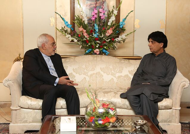 Iranian Foreign Minister Mohammad Javad Zarif meets with Pakistani Interior Minister Chaudhry Nisar Ali Khan