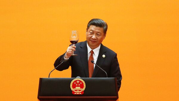 Chinese President Xi Jinping makes a toast at the beginning of the welcoming banquet at the Great Hall of the People during the first day of the Belt and Road Forum in Beijing, China, May 14, 2017 - Sputnik International