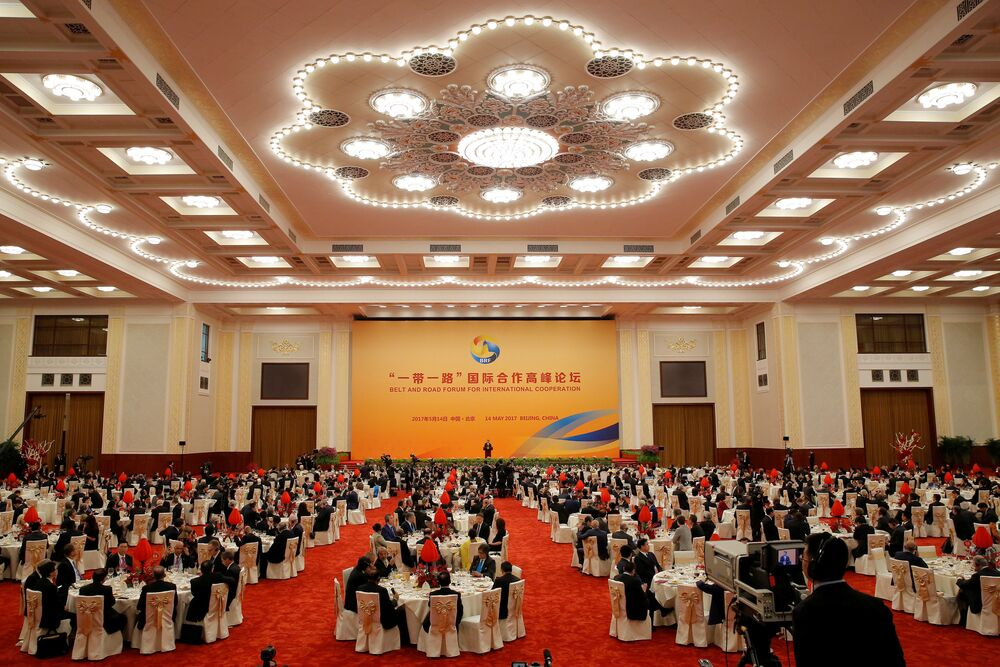 A view shows guests listen while Chinese President Xi Jinping delivers a speech during a welcome banquet for the Belt and Road Forum at the Great Hall of the People in Beijing, China, 14 May 2017