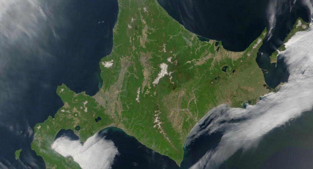 Satellite image of Hokkaido, Japan