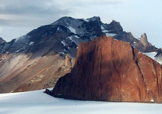 A mountain range near Russia's Novolazarevskaya station in the Antarctic.
