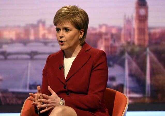 Scotland's First Minister Nicola Sturgeon speaks on the BBC's Andrew Marr Show in London, May 14, 2017.