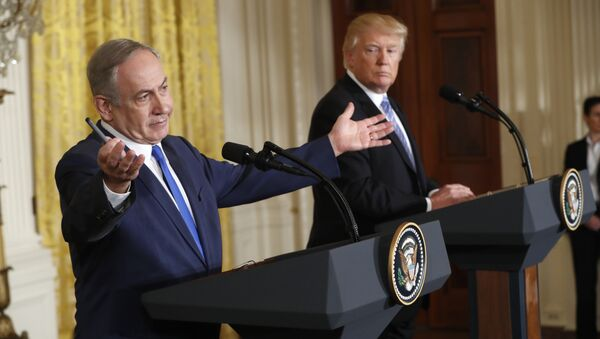 President Donald Trump and Israeli Prime Minister Benjamin Netanyahu participate in a joint news conference in the East Room of the White House in Washington, Wednesday, Feb. 15, 2017. - Sputnik International