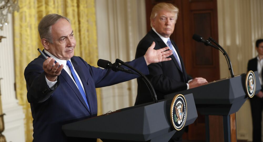 President Donald Trump and Israeli Prime Minister Benjamin Netanyahu participate in a joint news conference in the East Room of the White House in Washington, Wednesday, Feb. 15, 2017.