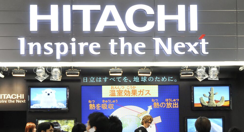 Visitors crowd at a booth of Japanese electronics maker Hitachi Ltd in Tokyo, Japan (file)