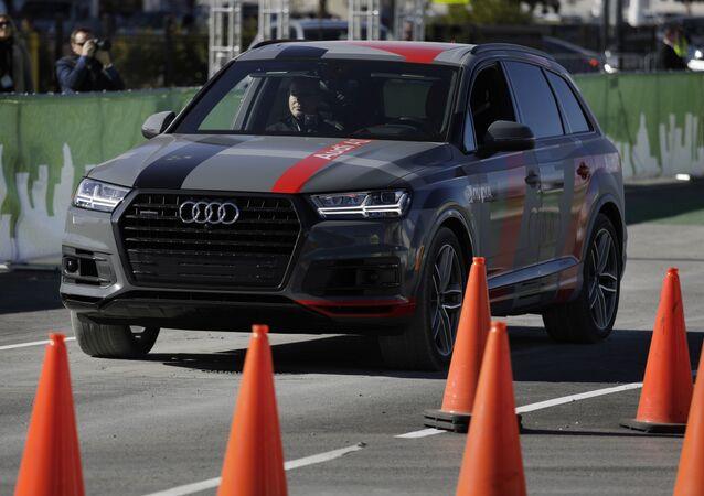 An autonomous car controlled by a Nvidia DRIVE PX 2 AI car computing platform drives passengers along a course during CES International, Friday, Jan. 6, 2017, in Las Vegas.