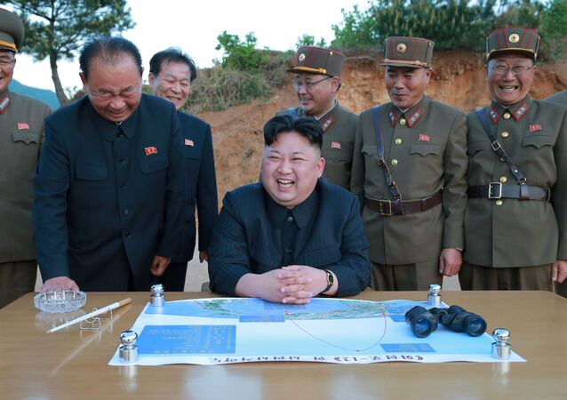 North Korean leader Kim Jong Un reacts during the long-range strategic ballistic rocket Hwasong-12 (Mars-12) test launch in this undated photo released by North Korea's Korean Central News Agency (KCNA) on May 15, 2017.