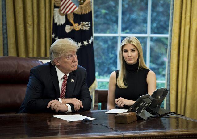 US President Donald Trump (L) and Ivanka Trump