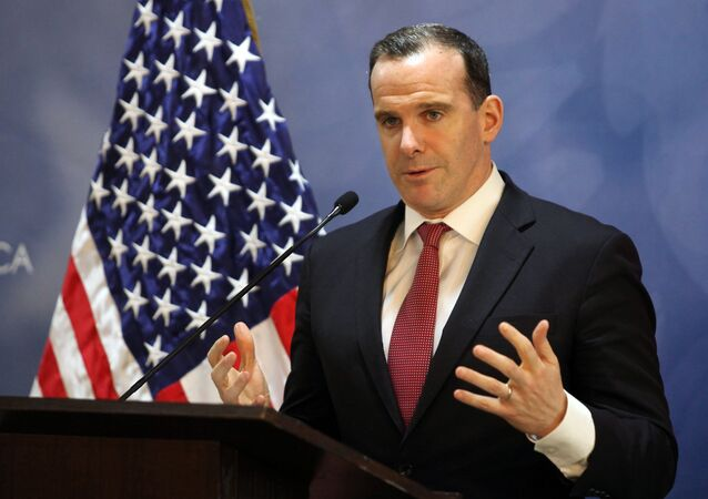 Special Presidential Envoy for the Global Coalition to Counter ISIL, Brett McGurk, speaks during a press conference in Amman on November 6, 2016.