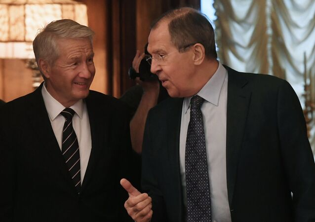 Russian Foreign Minister Lavrov meets with Council of Europe Secretary General Jagland (File)