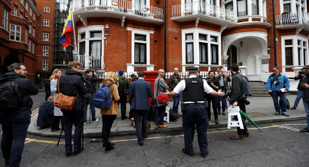 Journalists are seen outside the Ecuadorian embassy in London where WikiLeaks founder Julian Assange is taking refuge, London, Britain, May 19, 2017