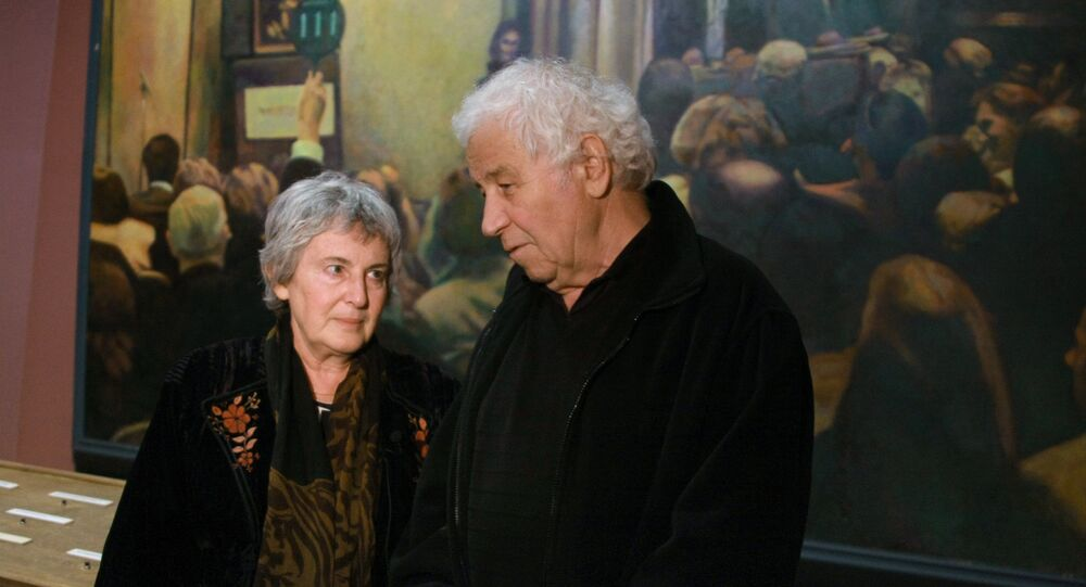Emilia and Ilya Kabakov are giving an interview at the Garage - the Center of modern culture. File photo