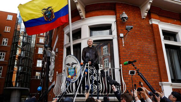 WikiLeaks founder Julian Assange is seen on the balcony of the Ecuadorian Embassy in London, Britain, May 19, 2017 - Sputnik International
