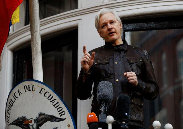WikiLeaks founder Julian Assange is seen on the balcony of the Ecuadorian Embassy in London, Britain, May 19, 2017