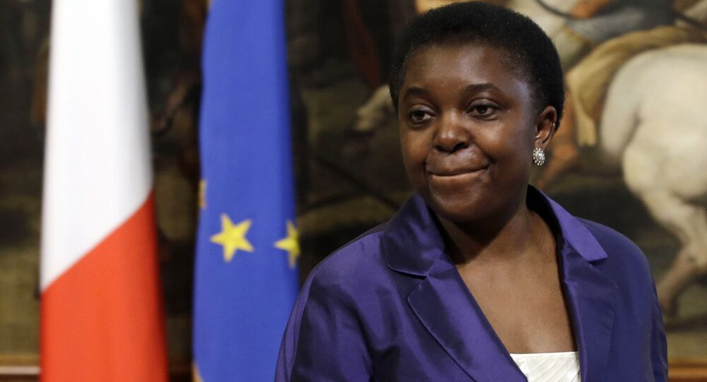 In this Sunday, April 28, 2013 file photo, Italian Integration Minister Cecile Kyenge arrives at the Premier's office in Rome's Chigi palace.