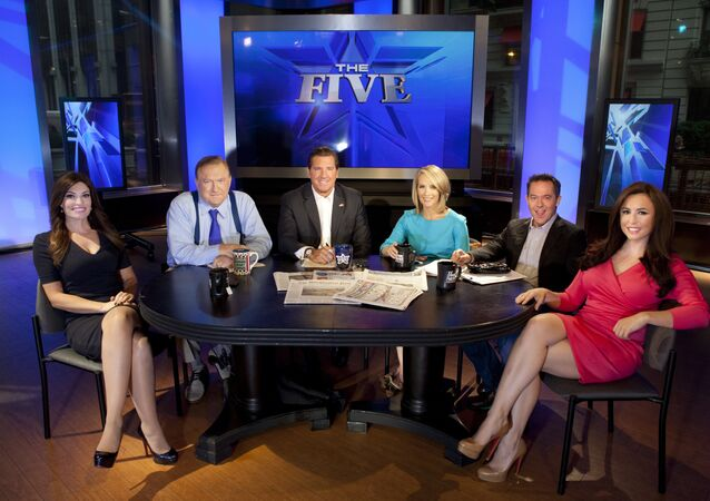Bob Beckel, seated second from left on the set of Fox News show The Five