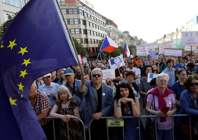 Demonstrators attend a protest rally against Czech Finance Minister Andrej Babis and President Milos Zeman in Prague, Czech Republic, May 17, 2017